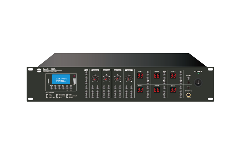 6 Zone Mixer Amplifier with Audio Matrix/Mp3/USB/FM/Bluetooth, PA-6030MX, PA-6060MX, PA-6120MX