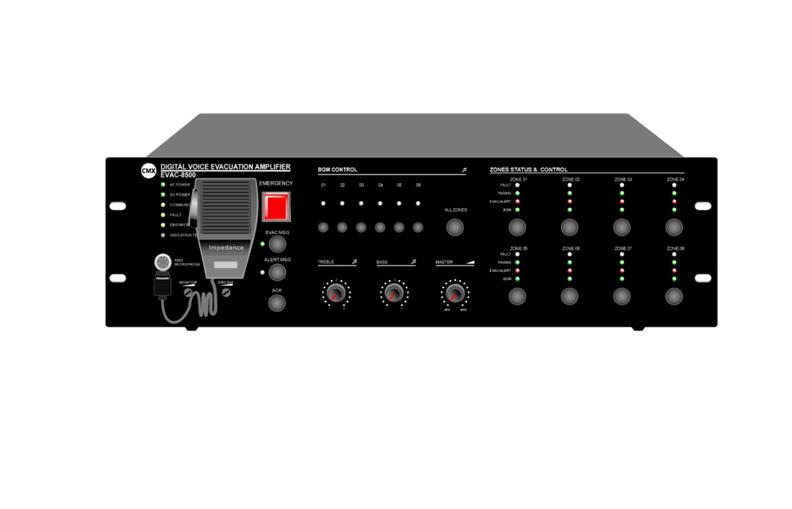 EN54-16 8 Zone Voice Alarm Controller EVAC-8500